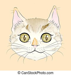 Smiling Tabby Cat - Smiling watercolor tabby cat head with...