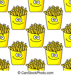 Smiling takeaway French fries seamless