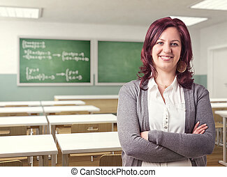 teacher - smiling teacher and 3d class background