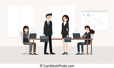 Smiling teamworkers at meeting room - Horizontal poster with...