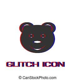 Smiling teddy bear icon flat.