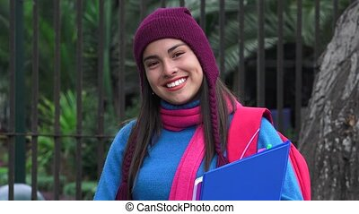 Smiling Teen Female Student Cold Weather