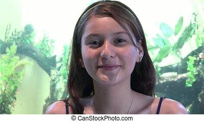 Smiling Teen Girl At Aquarium