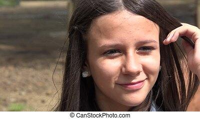 Smiling Teen Girl at Farm