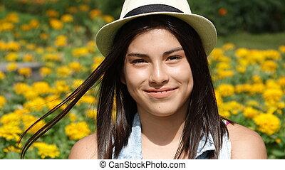 Smiling Teen Girl In Meadow