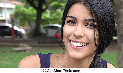 Smiling Teen Girl In Suburbs