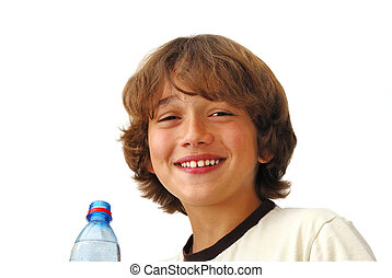 Smiling Teenage Boy After Drinkng Water