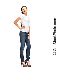 smiling teenage girl in blank white t-shirt