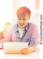 smiling teenage student with tablet pc computer