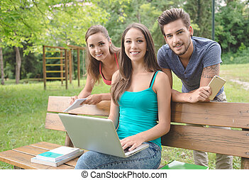 Smiling teenagers at the park using a computer