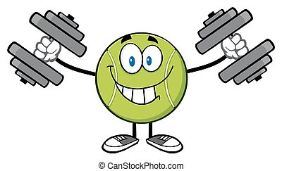 Smiling Tennis Ball With Dumbbells