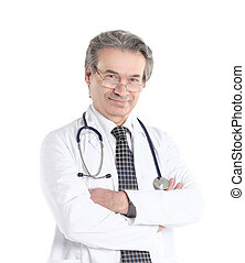 smiling therapist doctor with stethoscope .isolated on white background