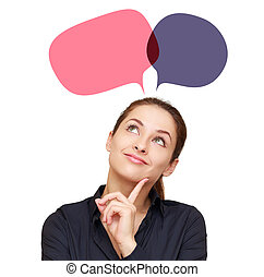 Smiling thinking woman with two web color bubbles above head...