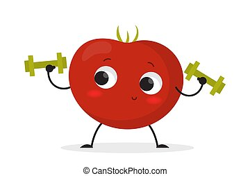 Smiling tomato character doing sport exercise with dumbbell