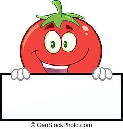 Smiling Tomato Cartoon Mascot Character Over A Blank Sign