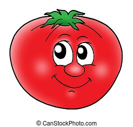 Smiling red tomato - color illustration.