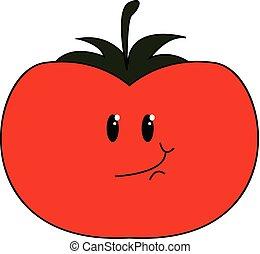 Smiling tomato vector or color illustration