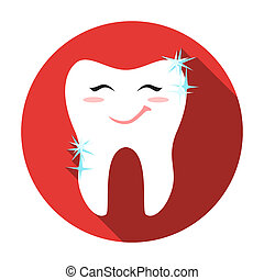 Smiling tooth icon in flat style isolated on white background. Dental care symbol stock rastr illustration.
