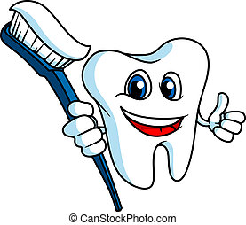 Smiling tooth with tooth-brush - Smiling tooth in cartoon...