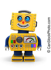 Smiling toy robot - Yellow toy robot is looking up in the ...
