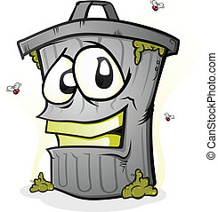 A garbage can character covered in trash with a big smile on his face