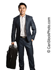 Smiling traveling businessman