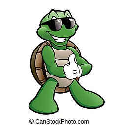Smiling Turtle - Cartoon turtle wearing sunglasses