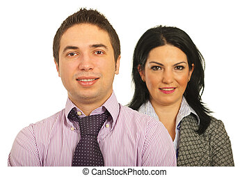Smiling two business people