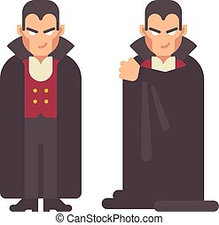 Smiling vampire in a cape. Halloween character flat illustration