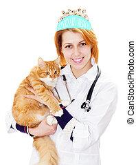 smiling vet and cat