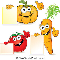 Smiling Vitamins - Cute cartoon vegetables with empty paper...
