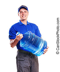 Smiling water delivery courier