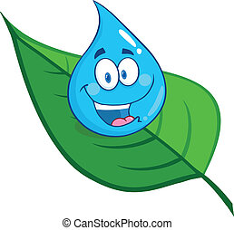 Smiling Water Drop On A Leaf Cartoon Character