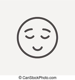 Smiling while sleeping thin line icon