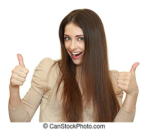 Smiling winning success young woman with two thumbs up isolated