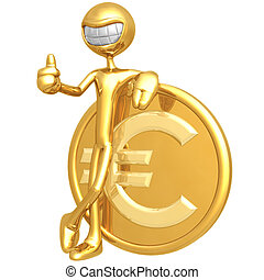Smiling With Euro Coin - 3D Concept And Presentation Figure