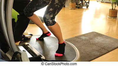 smiling with personal trainer - Slow motion of smiling woman...