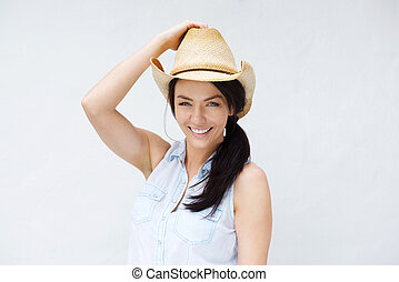 Smiling woman against white background