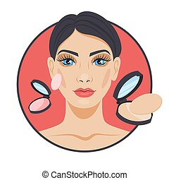 Smiling woman applying powder on her face. Face makeup