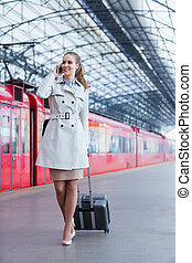 Smiling woman at the station