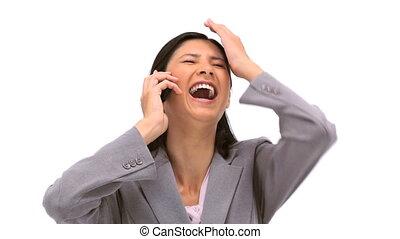 Smiling woman calling