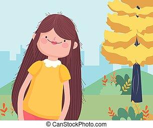 smiling woman cartoon park cityscape happy thanksgiving celebration