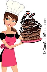 Smiling woman chef holding a multilayer chocolate cake decorated with hearts isolated