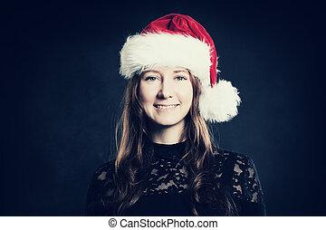 Smiling Woman. Christmas Portrait