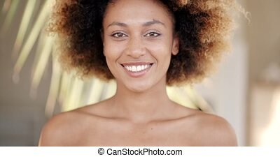 Smiling Woman Closeup Portrait - Fresh gorgeous young black...