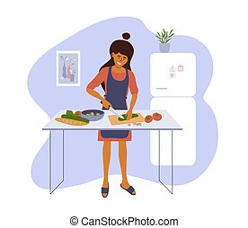 Stay home and cook healthy food yourself. Smiling woman cooking homemade meals in small cozy kitchen. Girl cutting vegetable to salad. Mother preparing dinner or lunch. Lifestyle vector illustration