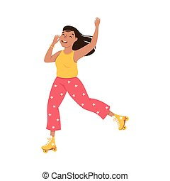 Smiling Woman Dancing on Roller Skates Performing Tricky Movement Vector Illustration. Young Female Roller Skating Engaged in Sport or Hobby Outdoor Activity Concept