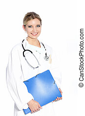 Smiling woman doctor doing rounds