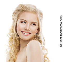 Smiling Woman Face on White, Girl Teeth Smile Portrait