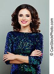Smiling Woman Fashion Model in Glitters Dress